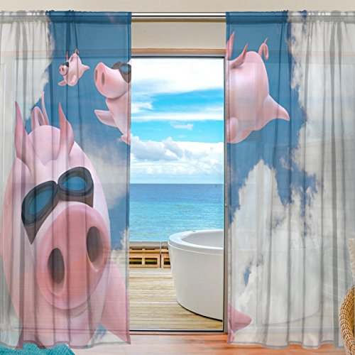SEULIFE Window Sheer Curtain, Funny Animal Cute Flying Pig Voile Curtain Drapes for Door Kitchen Living Room Bedroom 55x78 inches 2 Panels by SEULIFE