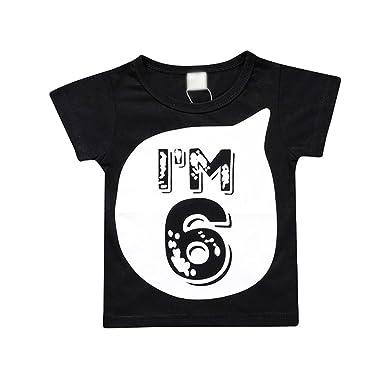 Heheja Enfants T-Shirt Bébé Garçon Fille Coton Tee Shirt Casual Mignonne  Noir et Blanc ca57995721d