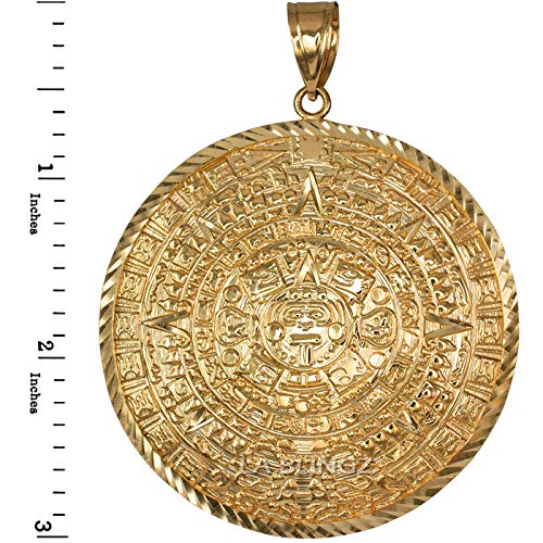 LA BLINGZ 14K Yellow Gold Aztec Mayan Sun Calendar Extra Large Pendant (XL/XXL) (XXL) by LA BLINGZ (Image #2)