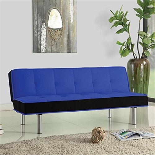 (Hawthorne Collections Fabric Convertible Sofa in Blue and Black)