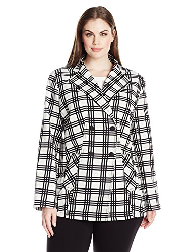 Jones New York Women's Plus Size Plaid Double Breasted Blazer, Ivory Combo, 18W