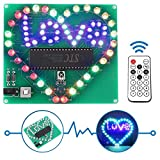 Icstation Heart Love Led Light Soldering Practice Remote Control DIY RC Light Electronics Projects Kit for School Student/Kids