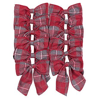 (Jaclyn Smith 12 Wired Decorative Holiday Christmas Bow Collection Red & Gray Plaid Christmas Tidings)