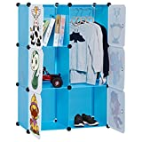 LANGRIA 6-Cube Cabinet Storage Unit Organiser for Kids Stackable Plastic Cube Shelves Multifunctional Modular Cupboard Wardrobe with Animal Cartoons on Doors for Clothes Shoes Toys School Bags (Blue)