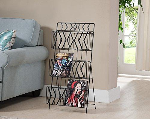 Kings Brand Furniture Black Finish Metal 3 Tier Magazine Rack Stand - Art Deco Magazine