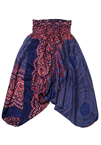 Lofbaz Baby Infant Harem Rose Flower Child Aladdin Pants Boho Hippy Dark Blue Size 12M