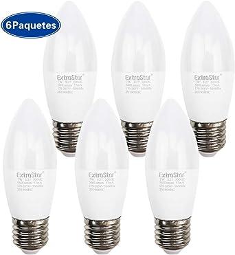 EXTRASTAR Bombillas LED Vela E27-7W equivalente a 56W, 560 lumen, Blanco cálido No regulable - Pack de 6 Unidades. [Clase de eficiencia energética A+]: Amazon.es: Iluminación