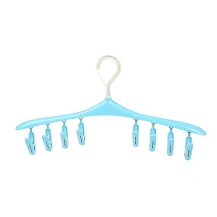 W&lx Perchas de plástico, Clip 8 Suspensiones multicoloras giratorias Sol secar calcetines Rack calzoncillos 2