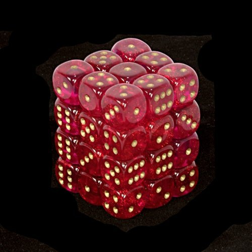 Chessex Dice d6 Sets: Borealis Magenta with Gold - 12mm Six