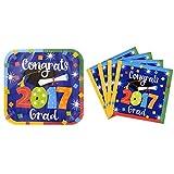 Congrats Grad 2017 Paper Plates and Napkins Graduation Party Supply Bundle v- Serves 14