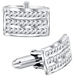 Sterling Manufacturers Men's Sterling Silver .925 Curved Rectangle Cufflinks with Baguette-Cut Cubic Zirconia Stones, Platinum Plated,16mm by 10mm. by