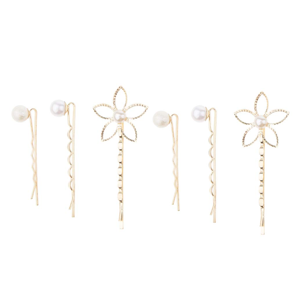 Homyl 6pcs Sweet Pearl Hairpin Wedding Prom Party Girl Ladies Hair Clip Pins