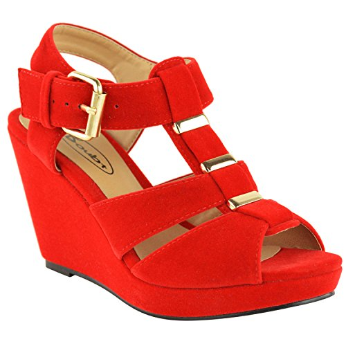 Strappy Toe Mid Faux Red Wedges Sandals Womens Peep Shoes Fashion Suede High Low Thirsty Heel ZwznCqYt