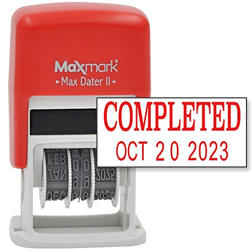 MaxMark Self-Inking Rubber Date Office Stamp with COMPLETED Phrase & Date - RED INK (Max Dater II), 12-Year Band