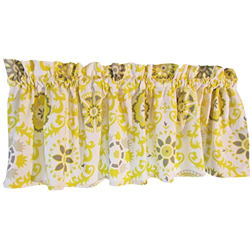 Gray Curtain Valance for Windows - Crabtree Collection - Noble Gray/Yellow Medallion (16 x 60)