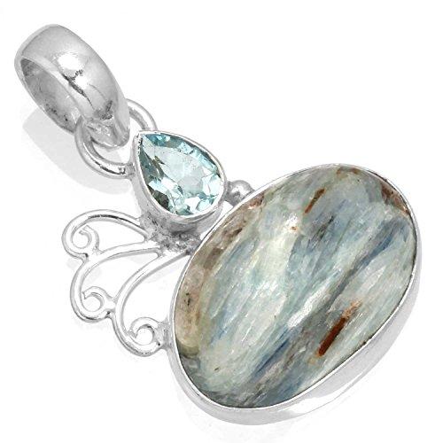 (Natural Blue Green Kyanite Gemstone Pendant Solid 925 Sterling Silver Stylish)