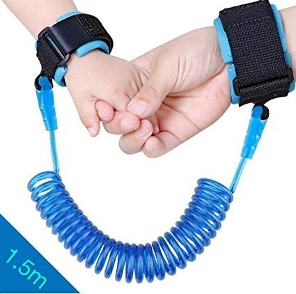 Child Anti Lost Safety Wrist Link, Harness Leash Strap Rope Safety Wristband to Prevent Children and Kids from Losing,1.5M,4.92 ft. (Blue) light snow
