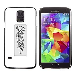 Be Good Phone Accessory // Dura Cáscara cubierta Protectora Caso Carcasa Funda de Protección para Samsung Galaxy S5 SM-G900 // black white tiger African animal poster