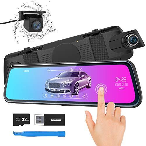 Cámara de Coche, ThiEYE Espejo Dash CAM 10″ 1080P Full HD Pantalla táctil Doble Lente con WDR,G-Sensor, Grabación en Bucle, Visión Nocturna, Monitor de Aparcamiento,Tarjeta SD de 32 GB