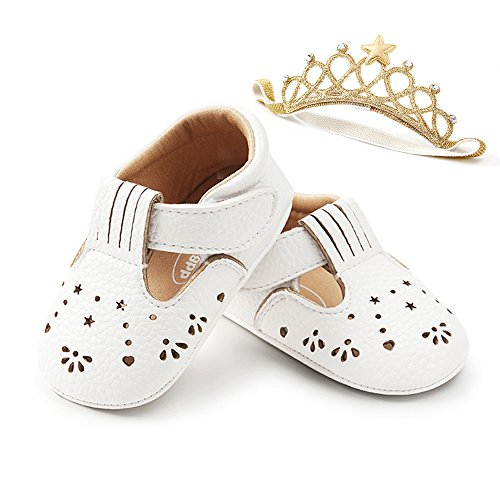 - LIVEBOX Unisex Baby Premium Soft Sole Infant Toddler Prewalker Anti-Slip Dress Crib Shoes with Free Baby Headband for Attend Wedding Birthday Party Events (White, L)