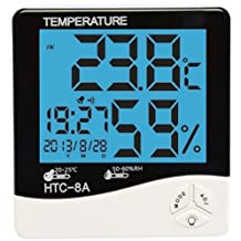 Acmee LCD Night Light Indoor Humidity Monitor Temperature Sensor Hygrometer Thermometer with Date Time Alarm Clock (HTC-8A)