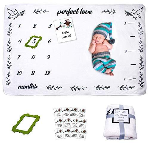 Baby Monthly Milestone Blanket,  Large Unisex 60