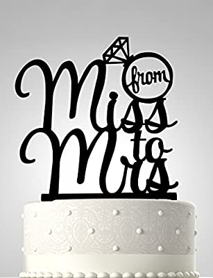 Rubies & Ribbons Wedding Cake Topper - From Miss to Mrs with Ring Party Decoration with Gift Box