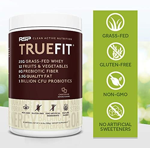 RSP TRUEFIT - Protein Powder Meal Replacement Shake, Grass-Fed, Organic Real Food, Probiotics, MCT Oil, Non-GMO, Gluten Free, No Artificial Sweeteners, 2 LB Chocolate 8
