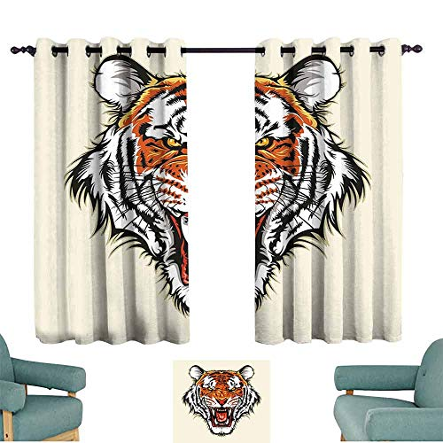 (Tiger Light luxury high-end curtains Angry Ready to Attack Beast with Sharp Fangs Jungle Animal Detailed Face of Hunter Suitable for Bedroom Living Room Study, etc.55
