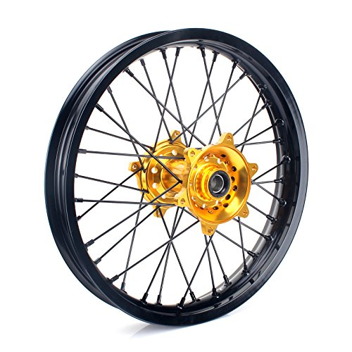 TARAZON 19 x 2.15 MX Rear Complete Wheel Kit Rim Spokes Gold Hub for Suzuki RMZ250 2007-2017 RMZ450 2005-2017