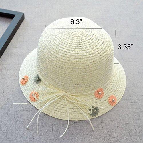 Straw Sun Hat Bag Set, Cute Bow Summer Beach Flower Bow Lace Sun Cap and Handbag for Kids Girls (White)
