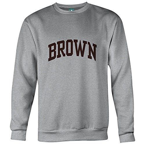 Brown University Sweatshirt By Ivysport - Classic Logo, 85% Cotton / 15% Polyester, Heather Grey, Crewneck Sweatshirt, Large (University Polyester Logo)