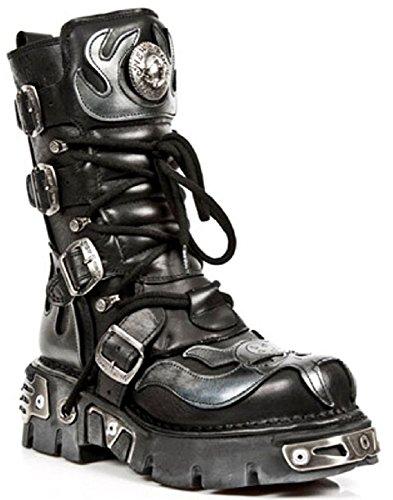 Stil Biker Unisex Design Goth Schwarz New Stiefel Echtleder Metalisch 107 Rock 0wwqTv