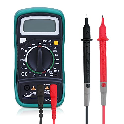 Powerjc Multimeter Digital Ohm AC/DC Volt Amp and Diode Transistor Semiconductor Anti-Error Protection Overload Protection Tester Meter (Transistor Amp)