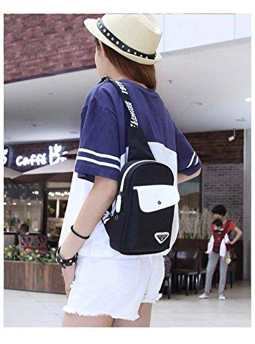 Wewod Bolsas de Viaje Outdoor Crossbody Bolsa Pequeñas Mochila de pecho Bolsa Pecho Moda Bolsos de tela Bolso Bandolera Hombre Sport Chest Bag Casual 18 x 34 x 8 cm (L*H*W) Negro
