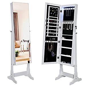Amazon.com: SONGMICS Lockable Jewelry Cabinet with Frameless ...