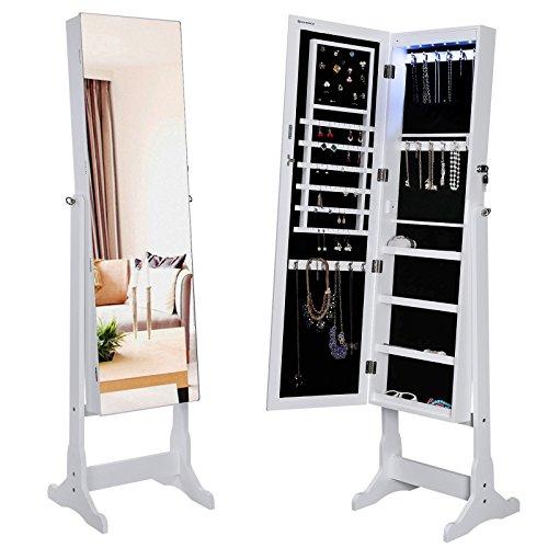 SONGMICS Lockable Jewelry Cabinet with Frameless Mirror Standing Jewelry Armoire Organizer with LED Light UJJC96W (Kid Jewelry Organizer compare prices)