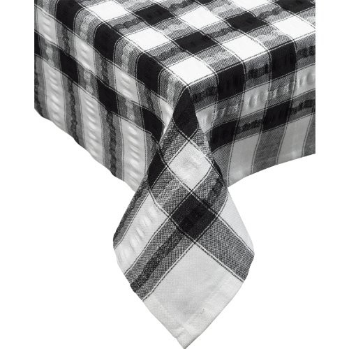 """(Seersucker Oblong / Rectangle Checked Tablecloth Cotton Check Downview Table Linen 50"""" x 70"""" (Black))"""