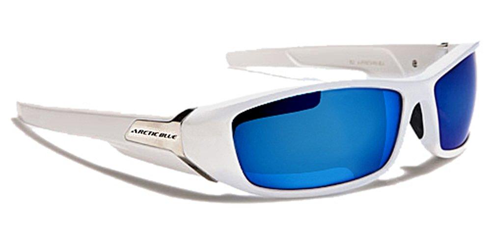 ArcticBlue Sonnenbrillen - Sport - Radfahren - Skifahren - Laufen - Driving - Motorradfahrer / Mod. Kite Weiß Blau Spiegel / One Size Adult / 100% UV400 Schutz