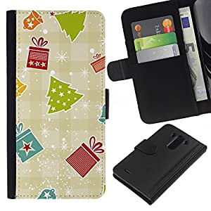 LG G3 / D855 / D850 / D851 Modelo colorido cuero carpeta tirón caso cubierta piel Holster Funda protección - Gift Paper Plaid Winter Merry