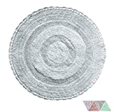 The Home Talk Ultra Soft Spa Cotton Crochet Round Bath Rugs or Mat Place in Front of Shower, Vanity, Bath Tub, Sink, and Toilet (24 inch and 36 inch Round, Dusky Blue) Pack of 2