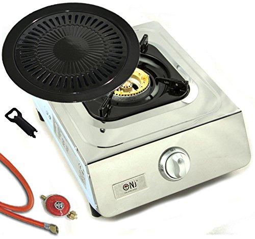 Hochwertiger Edelstahl Gaskocher 1 flammig Gasherd Campingkocher WOK Kocher + Grillplatte und Gasschlauch mit…