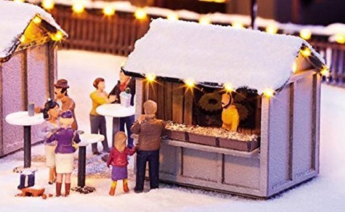 Christmas Market Stalls - Noch HO Scale Christmas Market Stall w/Led Lights - Kit -- 1-1/2 x 1-1/16 x 1-5/16