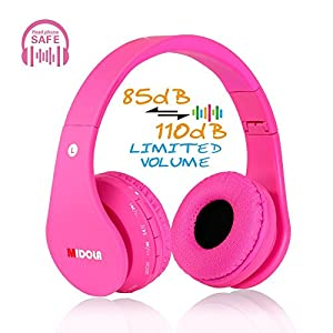 Midola Volume Limited 85dB Kids Headphone Bluetooth Wireless Over Ear Foldable Stereo Sound Noise Protection Headset…