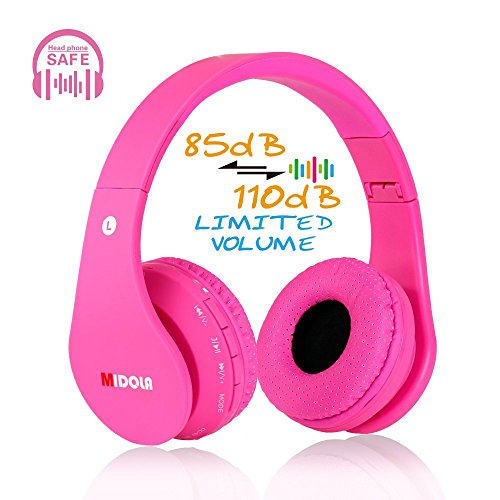 MIDOLA Kids Bluetooth Wireless Headphones Wired On-Ear Headset Foldable Earphone with AUX 3.5mm Jack SD Card Slot, Built-in Mic, FM Radio for Girls Students Children for PC Tablets Cellphone(Pink)