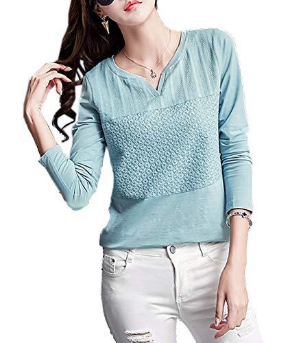 Tops T Femmes Jumpers Casual Automne JackenLOVE Printemps Shirts et Menthe Manches Verte Fashion Hauts Tees Blouse Slim Longues AqvUpO