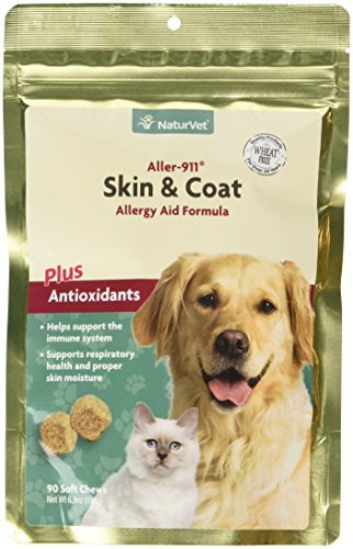 Aller-911 Skin & Coat Plus Advanced Allery Aid Supplement Soft Chews for Dogs & Cats, Omegas, DHA and EPA for Optimal Skin & Respiratory Health, Veterinarian formulated, Made by NaturVet