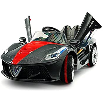 2018 Ferrari Spider GT Style 12V Ride On Motorized Kids Toy Cars Powered  Wheels W/ Remote, Leather Seat, LED Lights (Carbon Black)