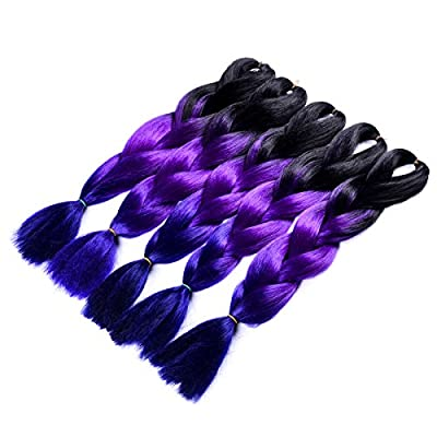 "Silike Ombre Jumbo Braiding Hair Afro Braiding Hair Extensions 3 Tone Colour 24"" (5 Pieces)"