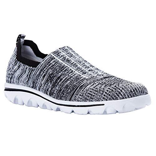 Propet Boys' TravelActiv Stretch Sneaker, Black/Grey